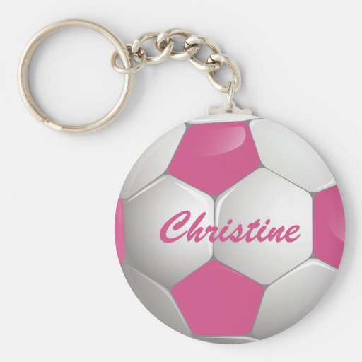 Customizable Football Soccer Ball Pink and White Keychains