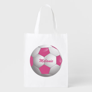 Customizable Football Soccer Ball Pink and White Reusable Grocery Bag