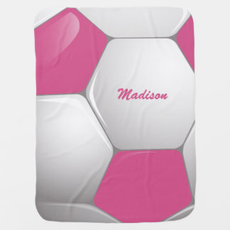 Customizable Football Soccer Ball Pink and White Receiving Blanket