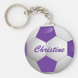 Customizable Football Soccer Ball Purple and White Key Ring