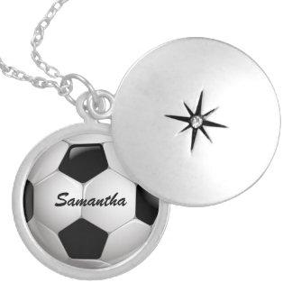 Customizable Football Soccer Ball Round Locket Necklace