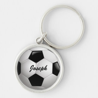 Customizable Football Soccer Ball Silver-Colored Round Key Ring