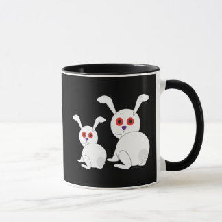 Customizable Freaked White bunnies with red eyes Mug