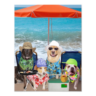 Customizable Funny Dogs Invite Day at the Beach