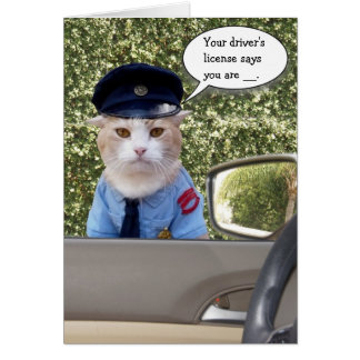 Customizable Funny Officer Cat Birthday Card