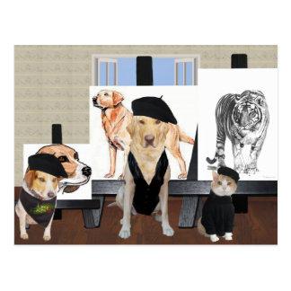 Customizable Funny Pet Art Class Post Card
