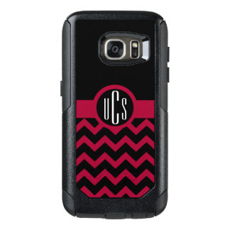 Customizable Garnet and Black Monogram OtterBox Samsung Galaxy S7 Case