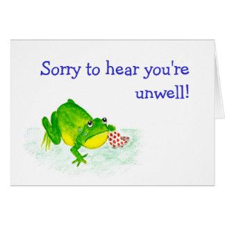 Customizable Get Well Card - Sad Green Frog