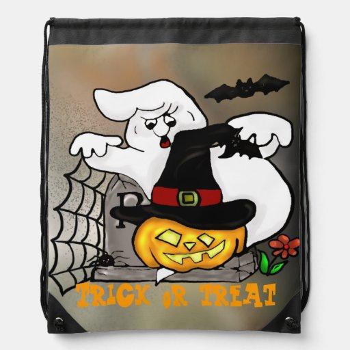Customizable ghost and Jack-O-Lantern Pumpkin Cinch Bag