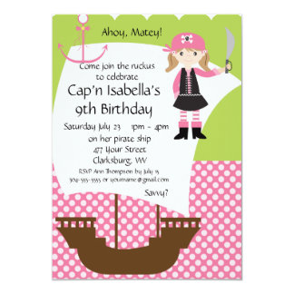 Customizable Girl Pirate Ship Birthday Party 5x7 Paper Invitation Card