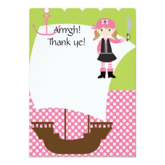 Customizable Girl Pirate Ship Thank You Card