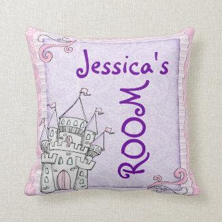 Customizable girls room fairytale castle pillow throw cushions