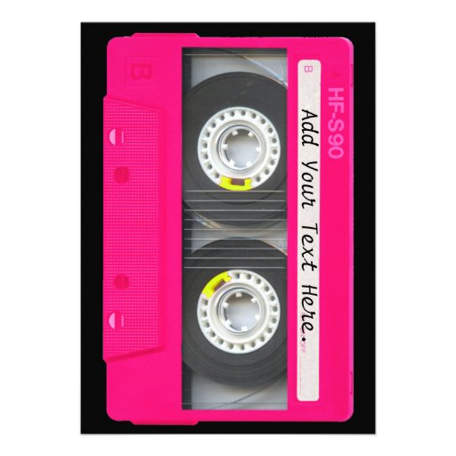 Customizable Girly Pink Cassette Tape Invite