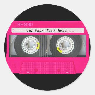 Customizable Girly Pink Cassette Tape Round Sticker
