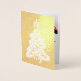 Customizable Gold foil Christmas card red green