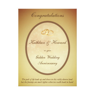 Customizable Golden Wedding Anniversary Canvas Print