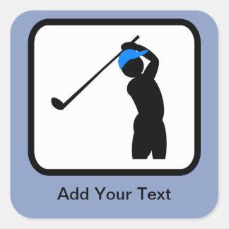 Customizable Golfer Logo Square Sticker