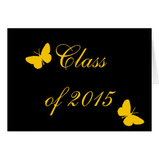 Customizable Graduation - Black and Gold Butterfly Cards