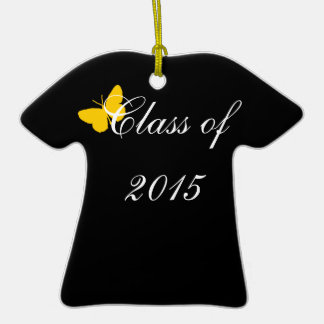 Customizable Graduation - Black and Gold Butterfly Christmas Tree Ornament
