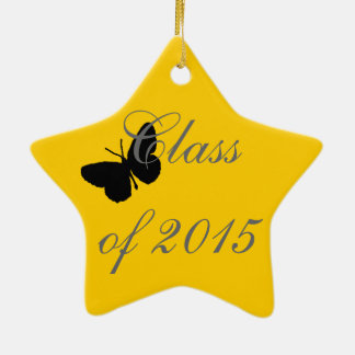 Customizable Graduation - Black and Gold Butterfly Christmas Ornament