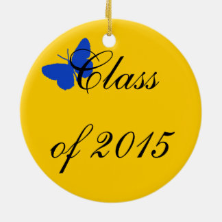 Customizable Graduation - Blue and Gold Butterfly Christmas Tree Ornaments