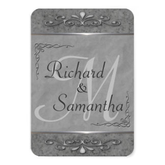 Customizable Gray Ornate Wedding Invitations