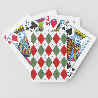 Customizable Green and Red Argyle Bicycle Playing Cards