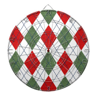 Customizable Green and Red Argyle Dartboard