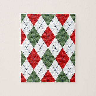 Customizable Green and Red Argyle Jigsaw Puzzle