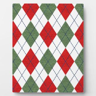 Customizable Green and Red Argyle Plaque