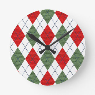 Customizable Green and Red Argyle Round Clock