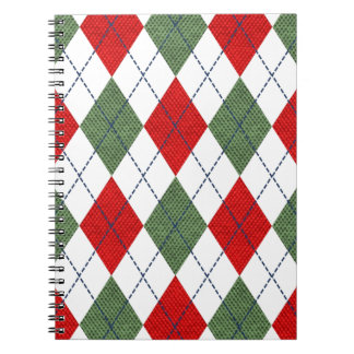 Customizable Green and Red Argyle Spiral Notebook