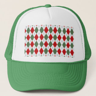 Customizable Green and Red Argyle Trucker Hat