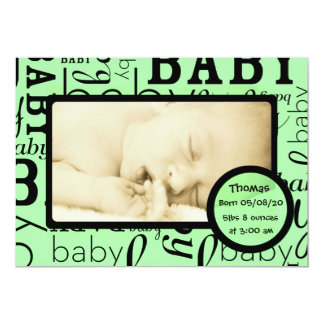 Customizable green baby photo announcements