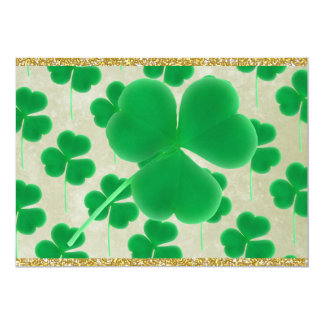 Customizable Green Shamrocks Gold Glitter 13 Cm X 18 Cm Invitation Card