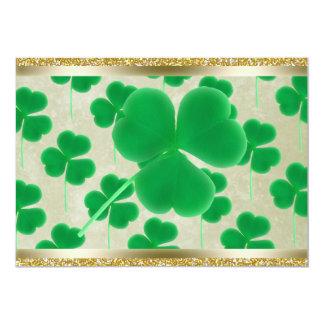Customizable Green Shamrocks Gold Glitter Personalized Invites