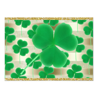 Customizable Green Shamrocks Gold Stripes Glitter 13 Cm X 18 Cm Invitation Card