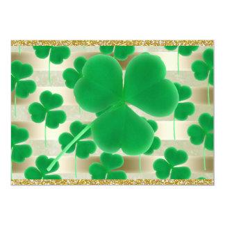 Customizable Green Shamrocks Gold Stripes Glitter 5x7 Paper Invitation Card