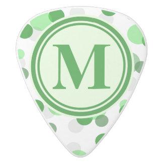 Customizable Green Spots Monogram White Delrin Guitar Pick