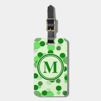 Customizable Green Spots Monogram Luggage Tag