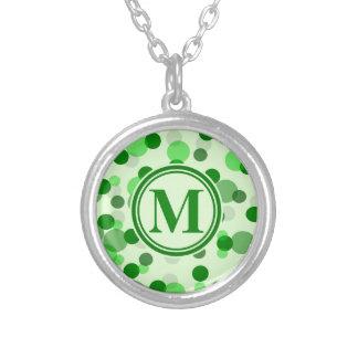Customizable Green Spots Monogram Round Pendant Necklace
