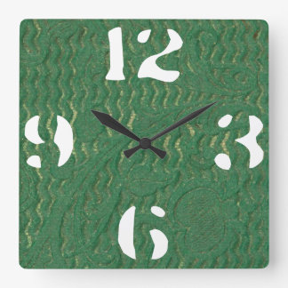 Customizable Green Texture Embossed Leather Square Wall Clock