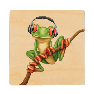 Customizable Green Tree Frog Dj with Headphones Wood Coaster