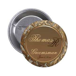 Customizable Groomsman Elegant Keepsake Button