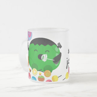 Customizable Halloween - Frankenstein and Candies Frosted Glass Coffee Mug