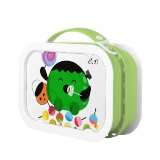 Customizable Halloween - Frankenstein and Candies Lunch Box