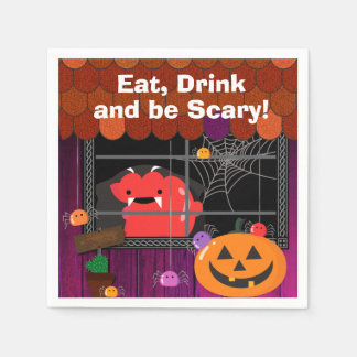 Customizable Halloween - Mochi Haunted House Disposable Napkins