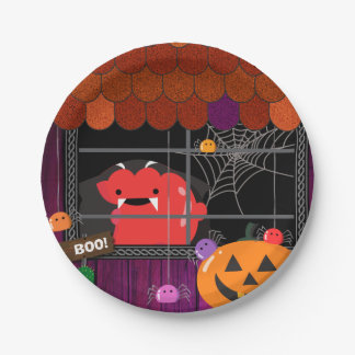 Customizable Halloween - Mochi Haunted House Paper Plate