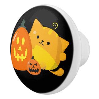 Customizable Halloween - Pumpkin Cat Ceramic Knob