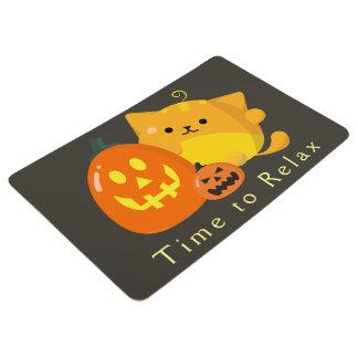 Customizable Halloween - Pumpkin Cat Floor Mat